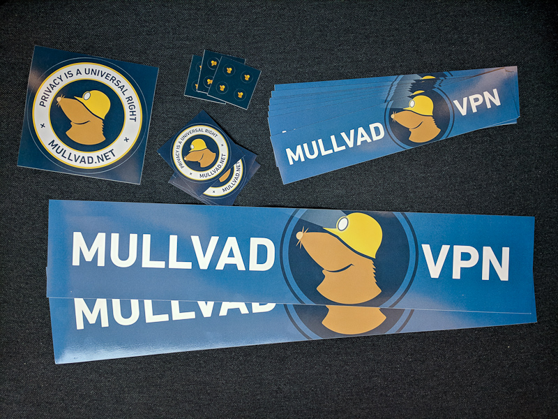 an assortment of Mullvad stickers