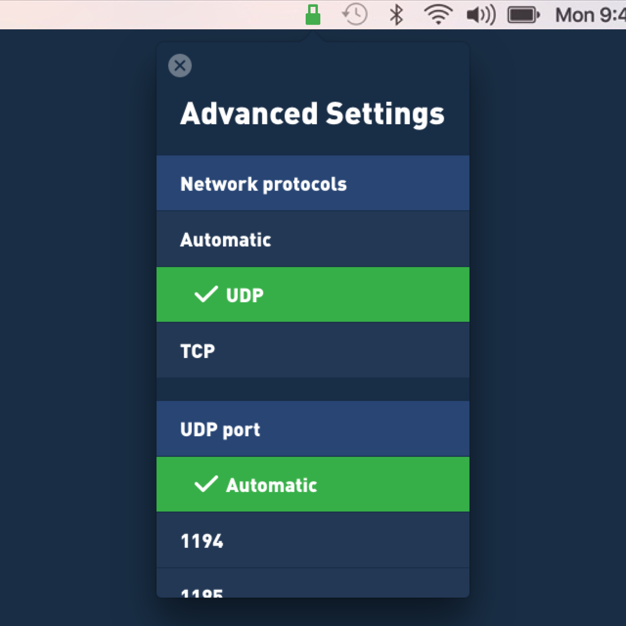 macOS screenshot of the advance settings in Mullvad's new VPN app