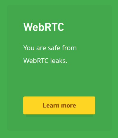 screenshot showing browser info about WebRTC leaks