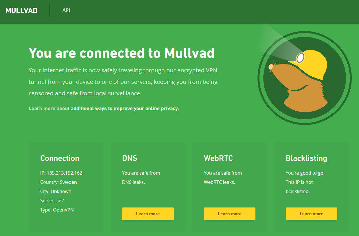 screenshot of Am I Mullvad website showing a successful VPN connection