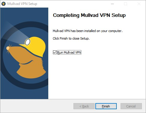 Pop-up in Windows showing that the installation of Mullvad is complete.