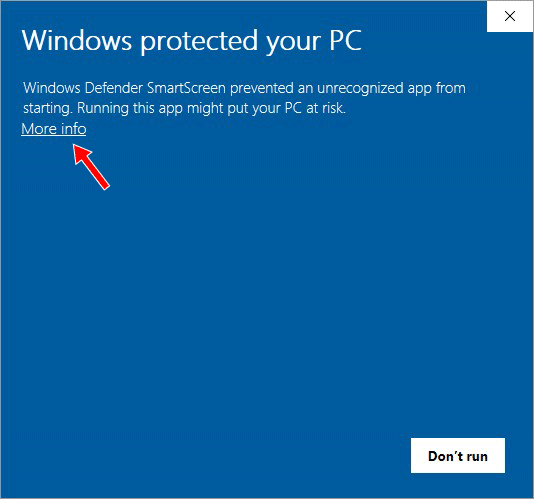 A Windows pop-up warning, with a red arrow showing to click on the More info link.