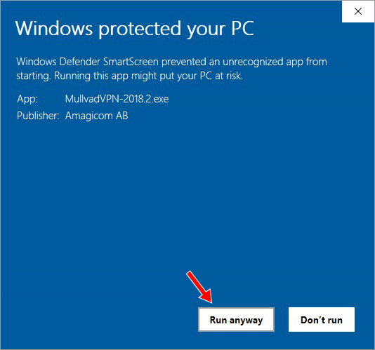 A Windows pop-up with a red arrow pointing to the Run anyway button.