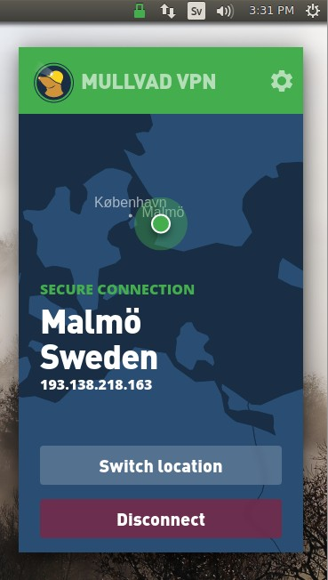 Mullvad VPN app in Ubuntu showing a secure connection