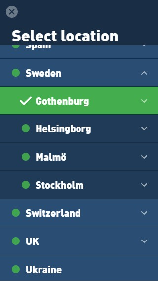 The Mullvad VPN app showing that you can select which city to connect to.