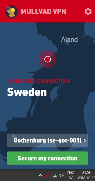 Mullvad VPN app showing a disconnected state