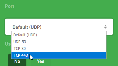 Choose TCP 443 from the port drop-down menu.