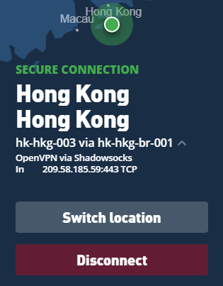 Connection screen in the Mullvad VPN app showing details about the user's Shadowsocks connection.