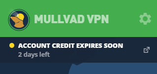 The Mullvad VPN app showing a message that account time will expire soon.