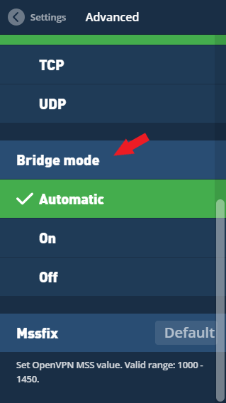 A red arrow pointing to Bridge mode in the Mullvad VPN app.