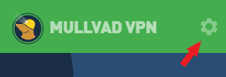 A red arrow pointing to the Settings icon (cogwheel) in the Mullvad VPN app