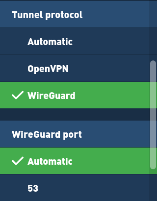 WireGuard under advanced settings